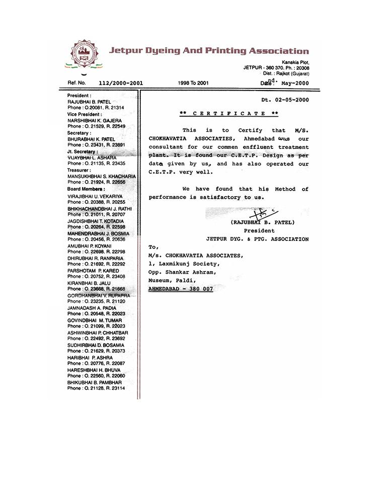 Client Certificates Chokhavatia Associates